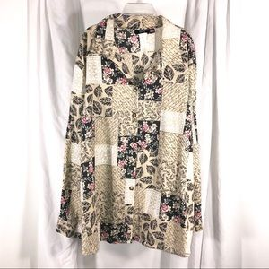 Vintage Floral Collage Tunic Shirt, size 4X